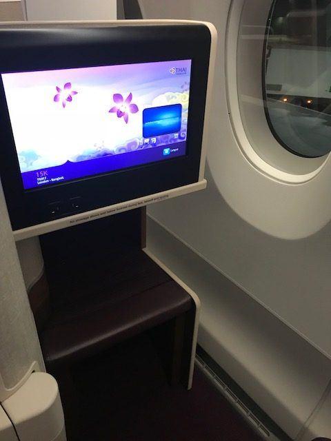 in flight entertainment screen on thai airways business class