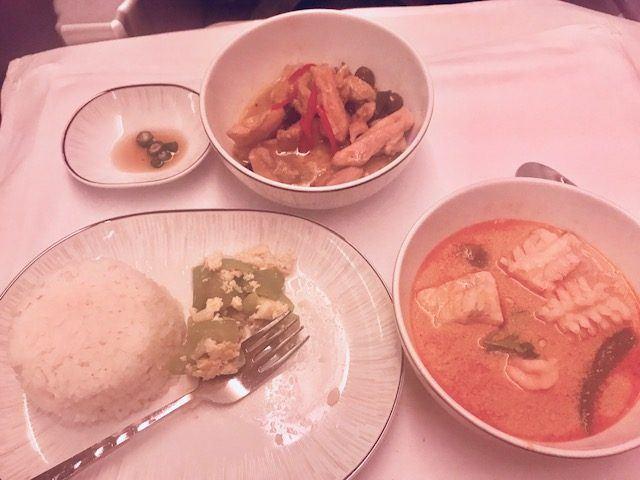 thai airways business class review a380 thai meal