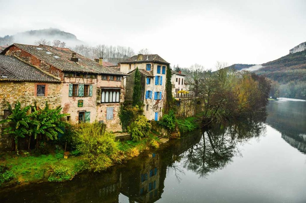 Houses on the Aveyron River Saint Antonin Noble Val