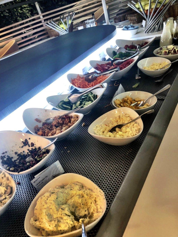 food choices at the sky lounge at Heathrow Terminal 4