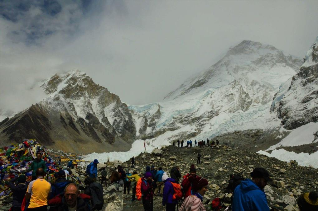 everest-base-camp with mountains behind