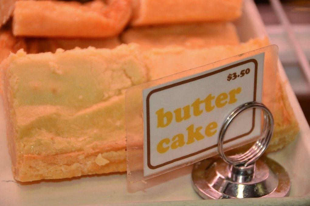 butter cake on display at Reading Terminal Market Philadelphia