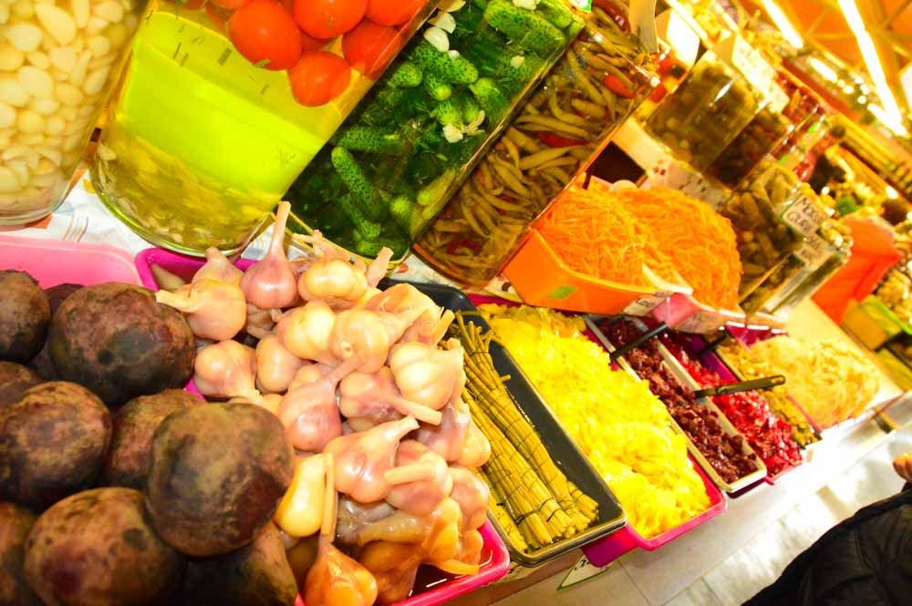 pickled products at Riga Central Market