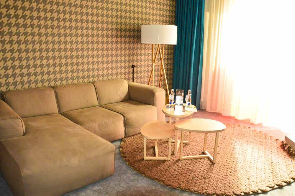 coach in sitting room of suite at hotel kurshi jurmala latvia