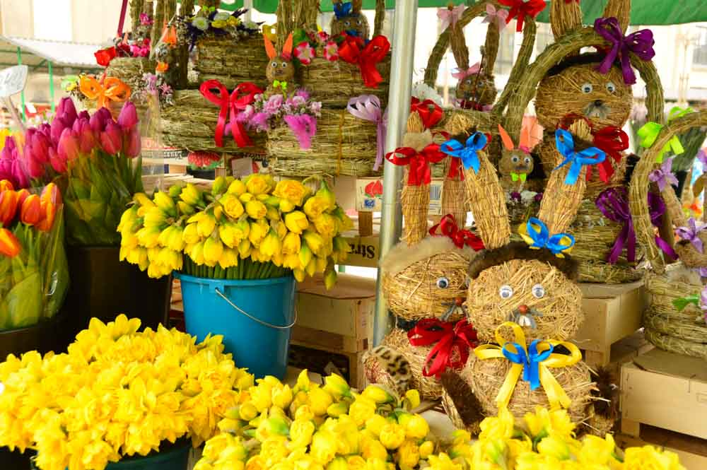 flowers and displays at Riga Central Market