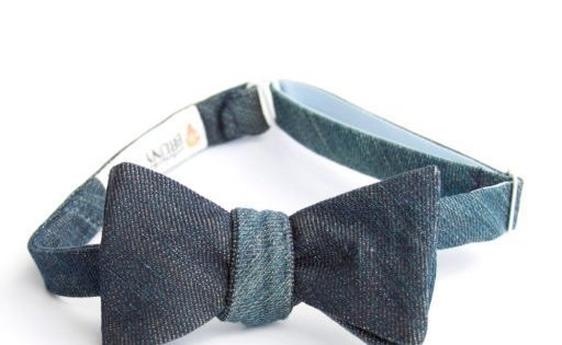 Denim bow tie for father's day