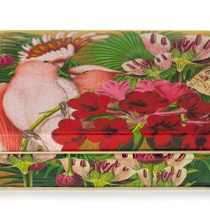 Madame Treacle papegaai cockatoo blikken doos