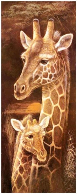 Diamond painting giraffe met kalf