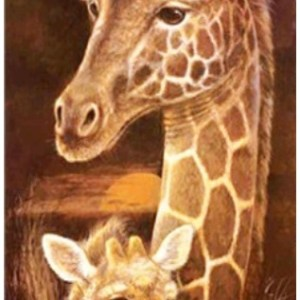 Diamond painting giraffe met kalf
