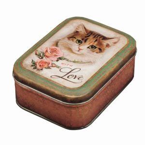 Vintage kat blikken doos B022