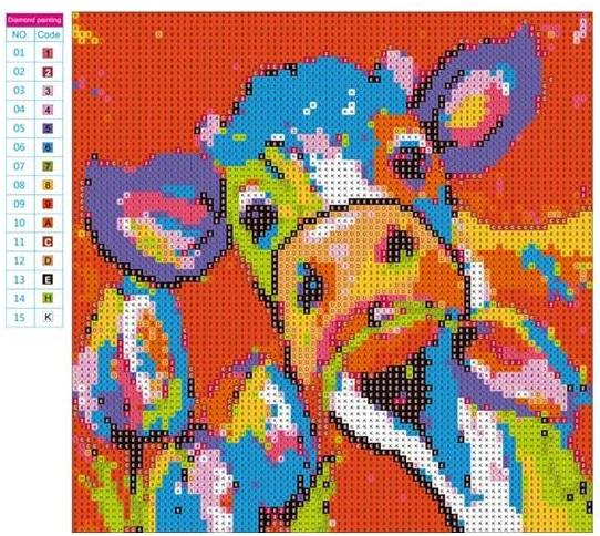 Diamond painting kleurrijke koe