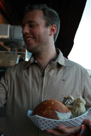 Husband Alastair McPherson enjoying a warm bowl of clam chowder in San Francisco, California