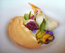 Smoked Mussels, Brandade, Squash Blossom & Chanterelle Veloute - Commonwealth SF