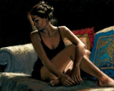 woman on the couch by fabian paintings