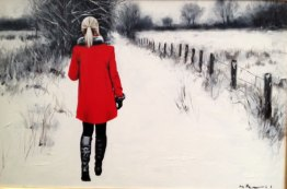 red-coat-on-a-winter-path by gerard burns