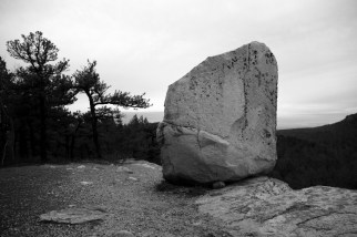 Solo rock at a cliff edge