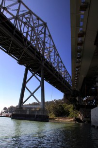Looking up at the old and new bridges