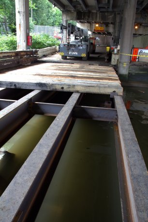 Timber mats make up the wearing surface of the Pier Extension