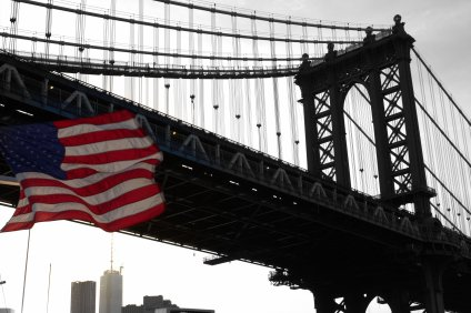 Symbols of Patriotism against the Manhattan Bridge