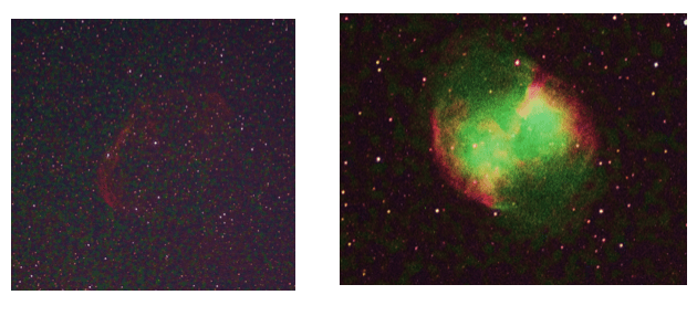 Two images taken as 3-minute single exposures, noise is prevalent in both. Details such as the edges of the nebulae and faint stars cannot be seen. D Elijah.