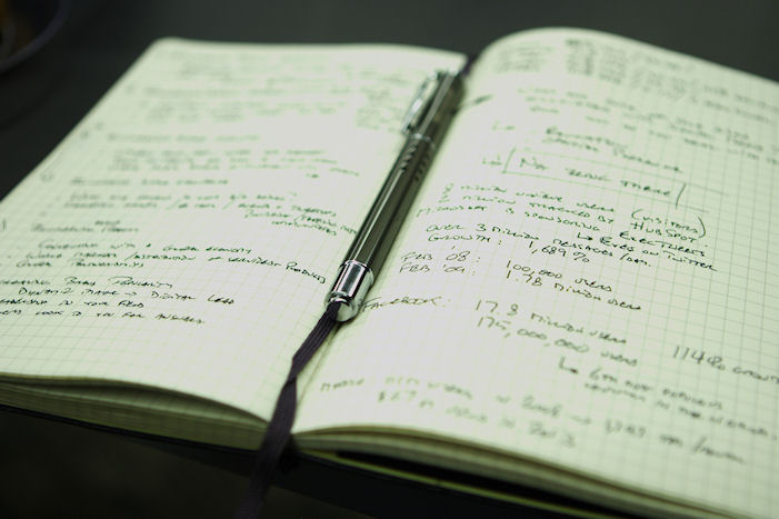 The notes I took in my trusty Moleskine notebook