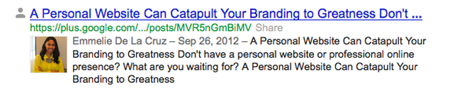Google Authorship snippet