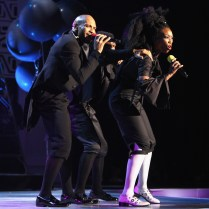 LAS VEGAS, NV - NOVEMBER 06: Singer Brandy (R) performs onstage during the 2016 Soul Train Music Awards on November 6, 2016 in Las Vegas, Nevada. (Photo by Leon Bennett/BET/Getty Images for BET)