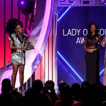 LAS VEGAS, NV - NOVEMBER 06: Honoree Brandy (L) accepts the Lady of Soul Award onstage during the 2016 Soul Train Music Awards at the Orleans Arena on November 6, 2016 in Las Vegas, Nevada. (Photo by Kevin Winter/BET/Getty Images for BET)