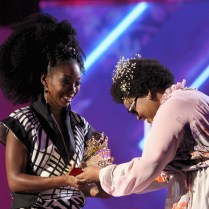 LAS VEGAS, NV - NOVEMBER 06: Honoree Brandy (L) accepts the Lady of Soul Award from singer Jill Scott onstage during the 2016 Soul Train Music Awards at the Orleans Arena on November 6, 2016 in Las Vegas, Nevada. (Photo by Leon Bennett/BET/Getty Images for BET)