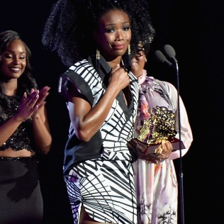 LAS VEGAS, NV - NOVEMBER 06: Honoree Brandy accepts the Lady of Soul Award onstage during the 2016 Soul Train Music Awards at the Orleans Arena on November 6, 2016 in Las Vegas, Nevada. (Photo by Paras Griffin/BET/Getty Images for BET)