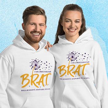 Cute couple in sweatshirts with BRAT logo