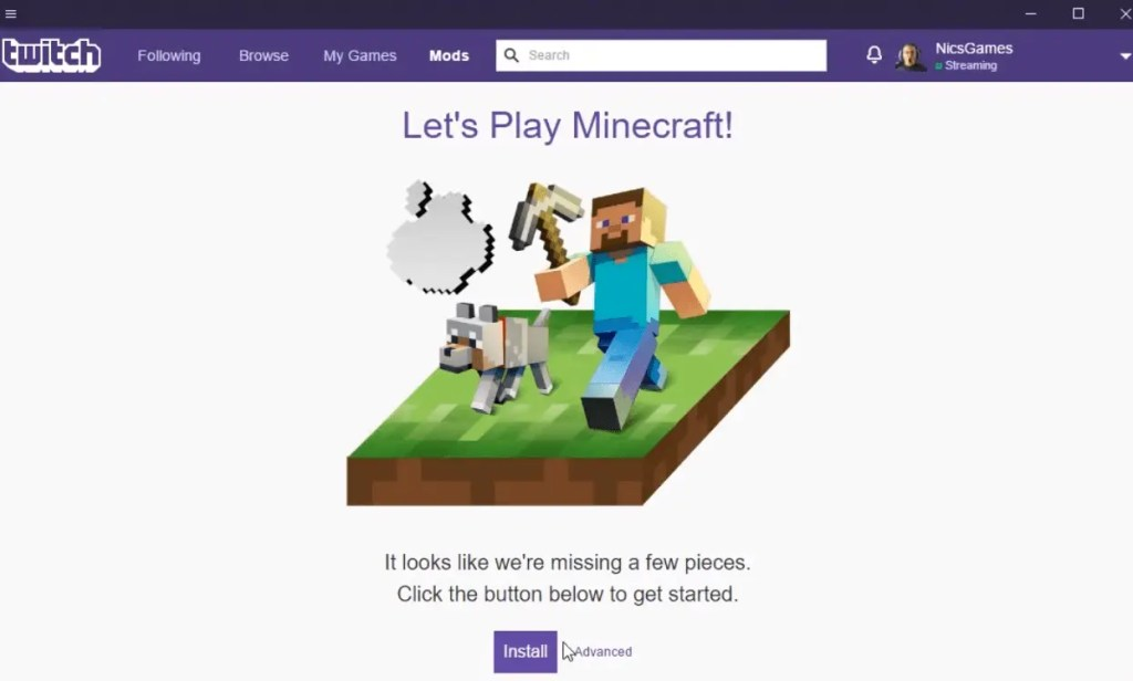 How To Setup Minecraft in The Twitch App