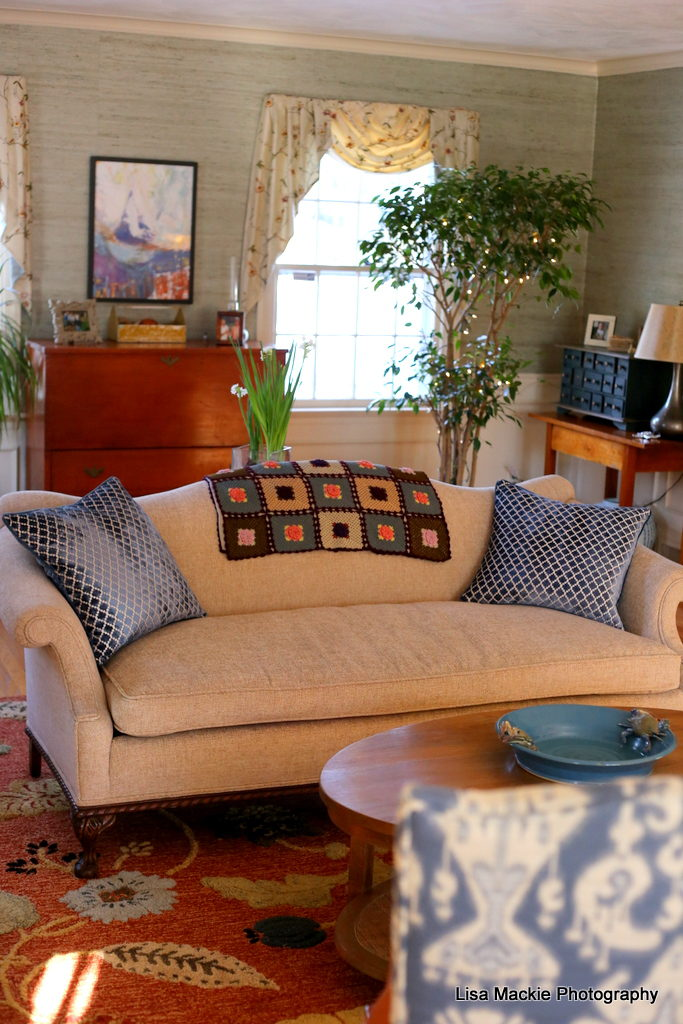 Living room reupholster reveal the brick nests - How to reupholster a living room chair ...