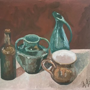 An oil painting in hues of turquoise and brown, depicting an urn, a bottle and two jugs.