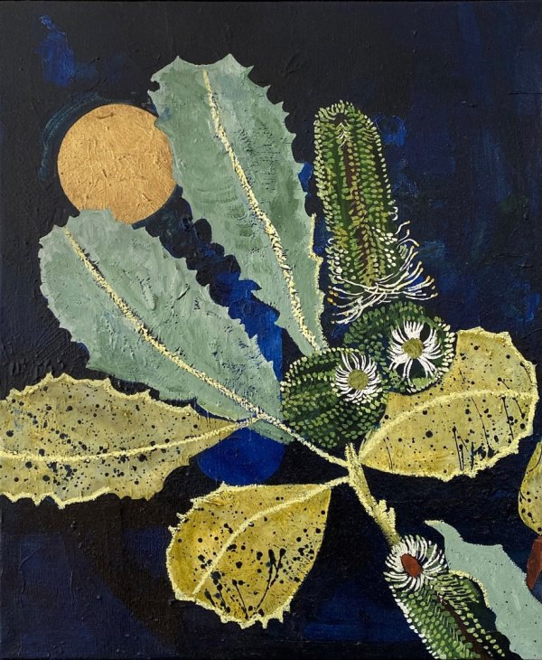 An oil painting of a banksia Robur in light yellow and green against a midnight blue background with a golden full moon.