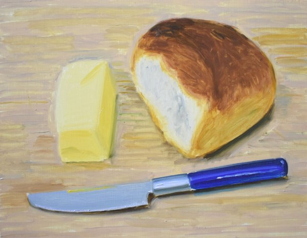 An oil painting of a piece of butter, a cob of crusty bread and a knife with a blue handle.