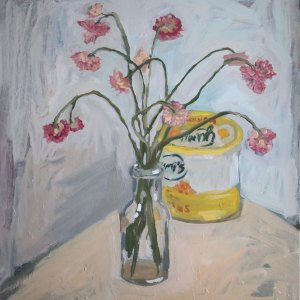 Oil painting depicting a glass vase holding pink flowers, sitting in front of a tub of hummus.