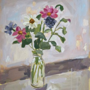 Oil painting depicting a bunch of pink, white and purple flowers in a glass vase.