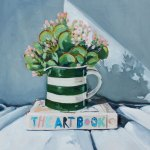 Oil painting of a striped jug filled with succulents, on top of a book titled 'The Art Book'.