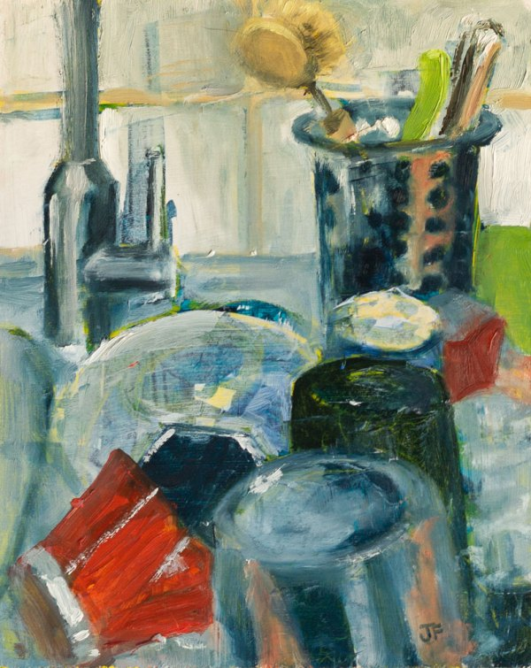 An oil painting of clean dishes, including a red percolator, draining by the kitchen sink.