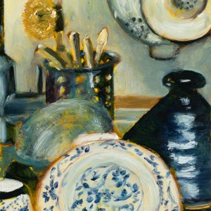 An oil painting in blue and golden hues, depicting cutlery, a tagine, plates and other kitchen utensils.