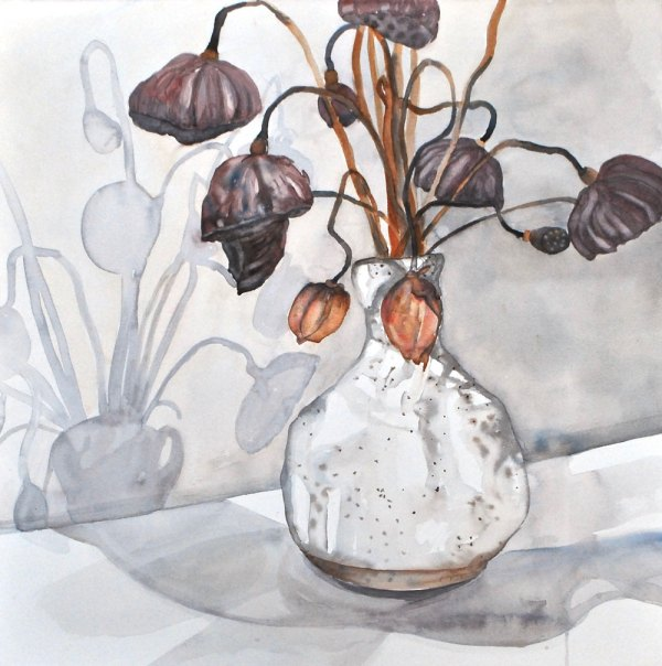 A watercolour painting of a bouquet of flowers in a white vase against a white backdrop.