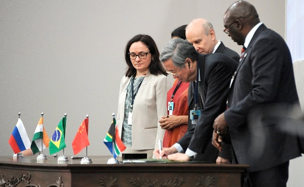 BRICS Finance and Commerce Minister at the signing of documents during the 6th BRICS Summit in Fortaleza, Brazil on 15 July 2014 [PPIO]