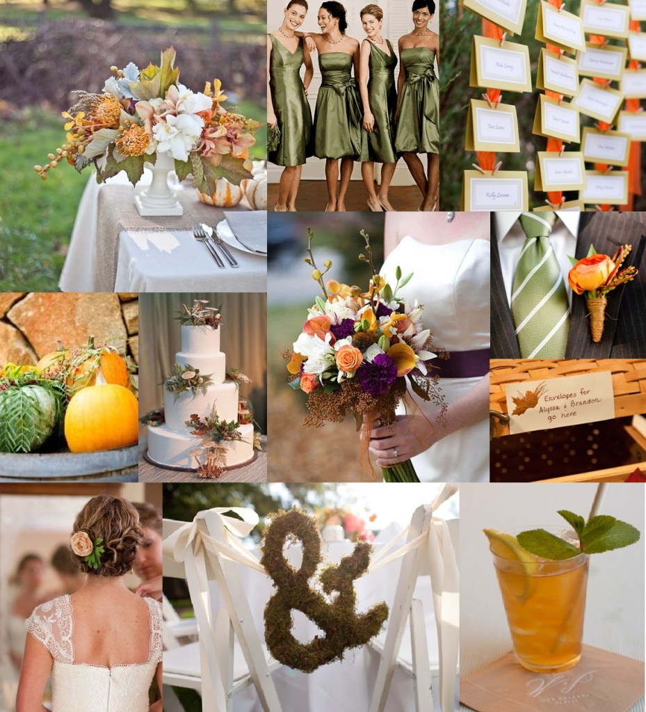 Rustic Fall Inspiration Board  Sage Green Orange and White  Bright Occasions