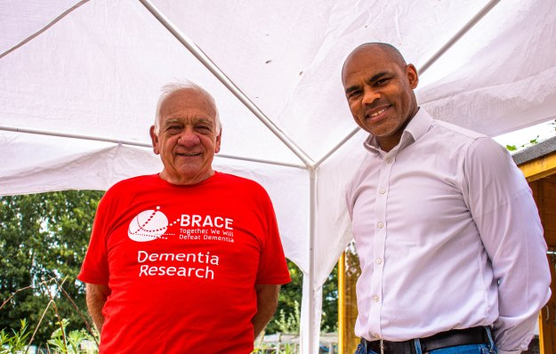 Mayor Marvin Rees visiting Brentry's dementia-friendly allotment, pictured with a volunteer from BRACE Dementia Research