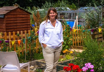 Isobel Jones, CEO of Alive, pictured at Brentry's dementia friendly allotment