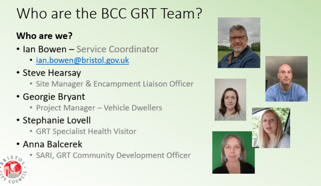 A graphic showing the names, faces, and contact details of Bristol City Council's GRT team. Contact ian.bowen@bristol.gov.uk