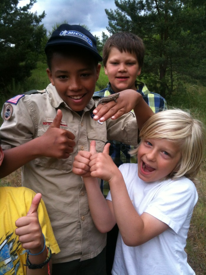 Finding slugs! Boy Scouts of America (even though we're British!)