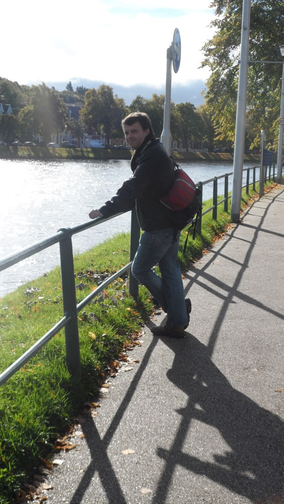 My husband - The Music Producer - on the Ness Walk in Inverness