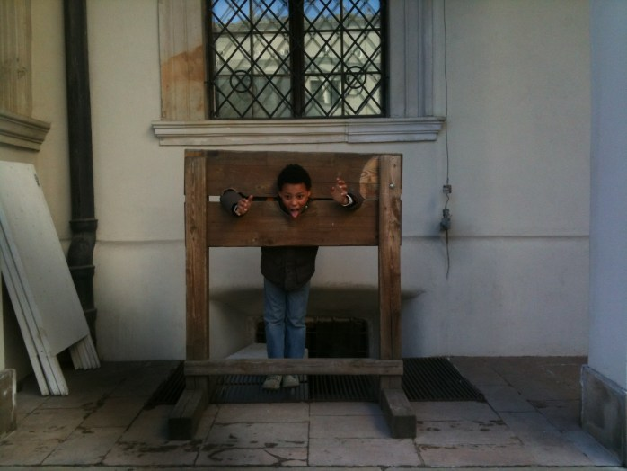 This is how they welcome tourists in Szczecin / Stettin, Poland by putting them in stocks!